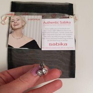 Authentic sabika earrings. Crystal diamond silver